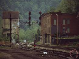 railroad junction through the old town of thurmond west virginia painting raymond gehman railroad junction
