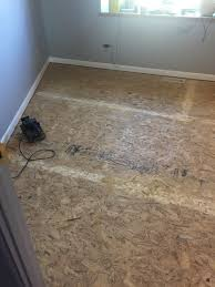 under my carpet was osb flooring and it was in really good shape looking at it i felt that i actually really liked the look of the oriented strand board