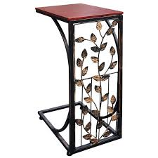 Small sofa table Space Saving Shop Sofa Side End Table Small Metal Dark Brown Wood Top With Leaf Design Cshaped Tv Tray Slides Up To Couch Chair Recliner On Sale Free Shipping Overstock Shop Sofa Side End Table Small Metal Dark Brown Wood Top With