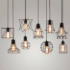 vintage metal cage pendant light hanging lamp bulb lighting fixture new loft lamps edison lights