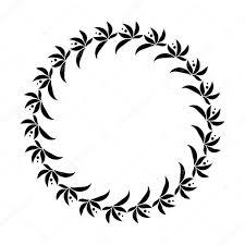 лавровый венок круг татуировки черный стилизованный орнамент