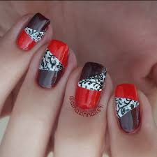 Nail Art Tutorial | Bicolor (Red and Bordeaux) and LACE Stylish ...