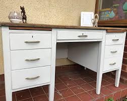 painted office furniture. Vintage Mid Century, Twin Pedestal Wooden Teachers Desk, Industrial Office Furniture, Painted Furniture C