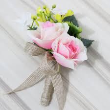 pink artificial flower onholes groom boutonniere best man wedding flowers bouquet accessories pin party suit decoration