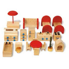dolls furniture set. Wooden Doll House Furniture Complete Set - Pure Play Kids Dolls R