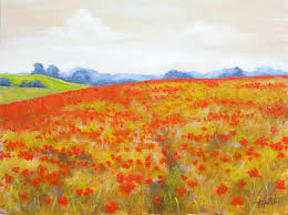 fine art red poppy field original oil painting on hdf by artist darko topalski