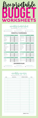 Printable Budget Worksheet Simple FREE Printable Budget Worksheets Printable Crush 1