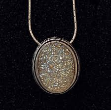 oval thumbprint necklace wth opal druzy