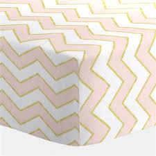 pale pink and gold chevron crib sheet