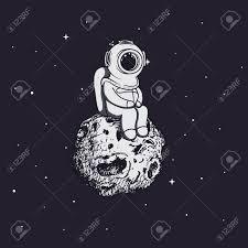 小惑星に宇宙飛行士のようなダイバーが座っています幼稚なベクター イラストです