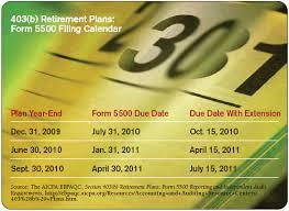 Aicpa Due Date Chart 2018 403 B Retirement Plans Form 5500 Filing Calendar
