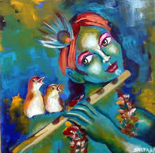 birds singing with krishna acrylic sd painting demonstration by artyshils you