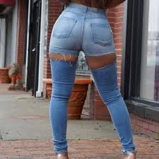 Sexy Street Plus Size High Waist Butt Ripped Jeans For Women Skinny Push up  Jeans Ass Hole Big Hips Jean Woman Pencil Denim Pant Jeans  - AliExpress