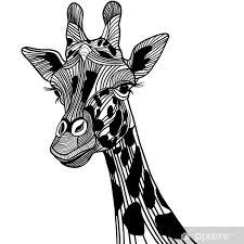 Nálepka žirafa Hlava Vektor Zvíře Na Tričko Skica Tetování Design Pixerstick