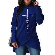 2018 New Fashion Faith Print Kawaii Sweatshirt Femmes Sweatshirts Hoodies Women