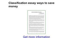 classification essay ways to save money google docs