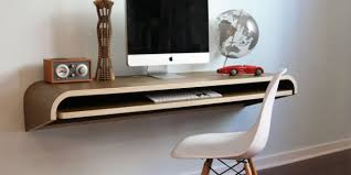 Slim Computer Desk floating monitor desk with wood finishing top desk and  sliding additional panel underneath