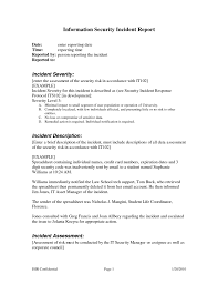 Sample Of Security Report And Best Photos Of Incident Report Sample