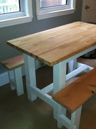 Farm Table Plans Ana White Farmhouse Table With Butcher Block Diy Projects