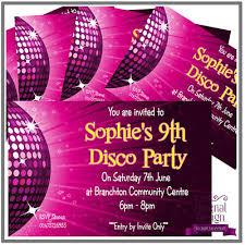 Childrens Disco Invitations 5 X Personalised Kids Childrens Birthday Invites Invitations