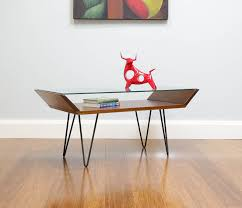 retro oak coffee table 2018 retro angular oak floating glass coffee table with hairpin legs