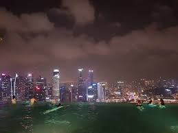 Infinity pool at night overlooking the city lights Picture of
