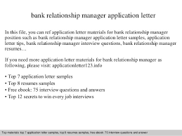 Bank Manager Interview Questions Cover Letter Relationship Manager Banking