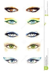 variety of eyes shapes with diffe makeup styles collection from bright to natural colors palette