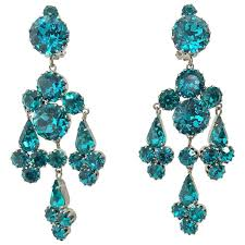 vintage turquoise rhinestone chandelier clip back earrings austria 1960s for