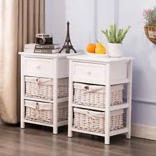 white wicker bedroom furniture. Delighful Furniture Pair Of Bedside Tables Shabby Chic White Drawer Cabinets With 2 Wicker  Baskets For Bedroom Furniture O