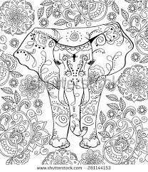 hand drawn elephant coloring page 281144153