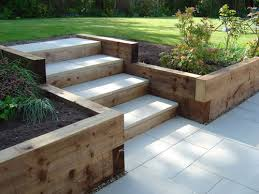 Small Picture Sleeper retaining walls and pavior capped steps For the Home