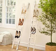 Shoe Rack Ladder Idea Alongside Old White Wooden Ladder.