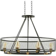 6 light bronze chandelier park collection in 6 light forged bronze oval chandelier with mesh shade