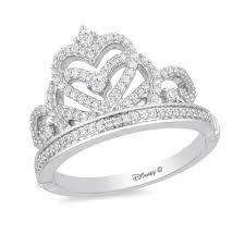 Enchanted Disney Princess 1 3 Ct T W Diamond Heart Top Tiara Ring In 10k White Gold