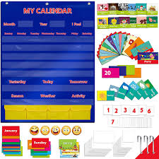 Yellow Calendar Pocket Chart Calendar And Weather Pocket Chart With 108 Illustrated Activity Cards 40 Dry Erasable Flash Cards And 3 Hooks 28 X 35 5
