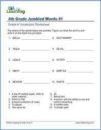 jumbled words worksheets for grade 4