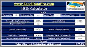 Download 401k Calculator Excel Template Exceldatapro