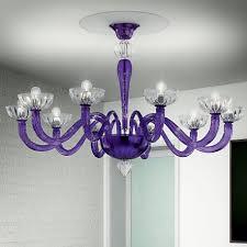 andronico murano glass ceiling light 10 lights purple