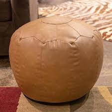 decor therapy preena saddle brown faux leather pouf