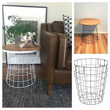 white coffee table with baskets accent table from a wire laundry basket industrial chic laundry and