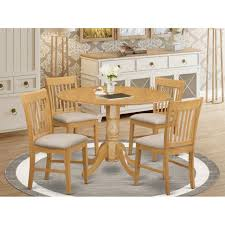 Shop wayfair for all the best round dining tables. Oak Round Kitchen Table And 4 Chairs 5 Piece Dining Set On Sale Overstock 10201193
