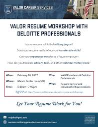 George Washington Resume VALOR Resume Workshop With Deloitte Professionals Office Of 14