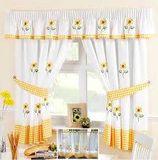 Kitchen Curtains Yellow Sunflower Yellow Amp White Voile Cafe Net Curtain Panel Kitchen