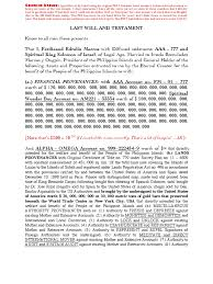 Last Will And Testament Of Ferdinand Marcos President Of The