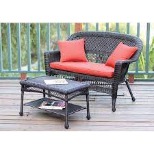 jeco wicker patio loveseat and coffee