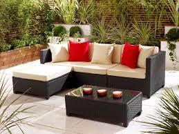 Furniture:Elegant Garden Furniture With L Shape Sofa Combine Cream Cozy  Cover And Rectangle Black
