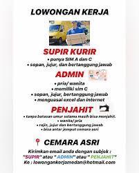 Saat ini kami membutuhkan driver yang akan. Lowongan Kerja Medan 1 Loker Medan Sumut Indonesia Facebook