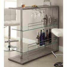 modern rustic bar table small space mini bar grey wash finish wood chrome glass for