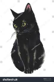 black cat watercolor painting realistic for isolated on white background